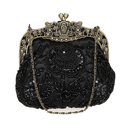 Guozi Damen Retro Clutch Handgemachte Perlen Kupplung Pailletten Handtasche Stickerei Diagonalpaket Abendtasche Tasche mit Schulterkette für Hochzeit Party Tanzparty (Schwarz) -