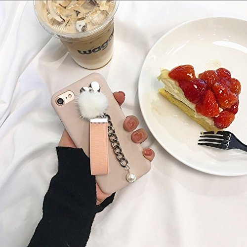 Phone case & Hülle Für iPhone 6 Plus / 6s Plus, Leder weichen schützenden rückseitigen Abdeckungs-Fall mit Pelzkugel-Kettenanhänger ( Color : Black ) Pink