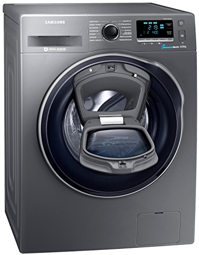 Samsung WW80K6404QX/EG Waschmaschine FL / A+++ / 116 kWh / Jahr / 1400 UpM / 8 kg / Add Wash / WiFi Smart Control / Super Speed Wash / Digital Inverter Motor / anthrazit (Waschmaschine Trockner Schwarz)