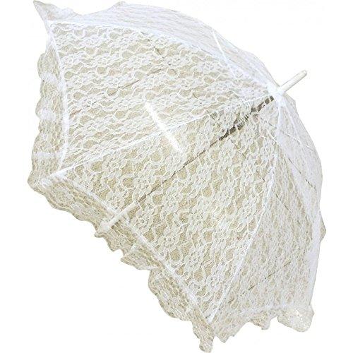 Spitze-Sonnenschirm-Regenschirm-Hochzeit - Farbe: Elfenbein