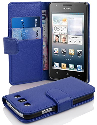 Cadorabo Hülle für Huawei Ascend G525/ G520 Hülle in KÖNIGS blau Handyhülle mit Kartenfach aus Struktriertem Kunstleder Case Cover Schutzhülle Etui Tasche Book Klapp Style Königs-Blau
