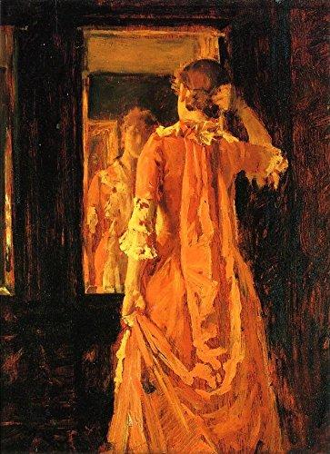 Die Museum Outlet-Junge Frau vor einem Spiegel-Canvas Print Online kaufen (76,2x 101,6cm)