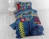 Bettwäsche Baumwolle Sleeptime Kinder Polizei , 140cm x 200cm, Mit 1 Kissenbezüge 60cm x 70cm, Blau