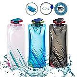Sisleyhome Unisex Adult 700ML Faltbare Set von 3,Faltbare trinkflasche wasserflasche, Zusammenklappbare Flexible Wiederverwendbare Wasserflasche zum Wandern, Radfahren, Abenteuer, Reisen
