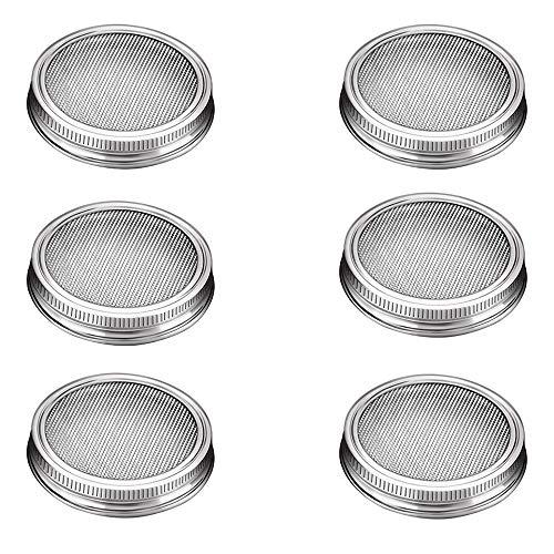 G.a HOMEFAVOR Sprossengläser Deckel, Set Bestehend aus 6 Glasdeckeln aus Edelstahl Passend für Weithals-Einmachgläser für die Herstellung von Sprösslingen Samen für Zuhause
