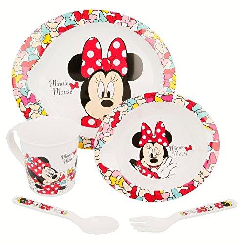 Set micro bébé 5 pièces (Assiette, bol, tasse et couverts) Minnie Mouse Couleur Bows
