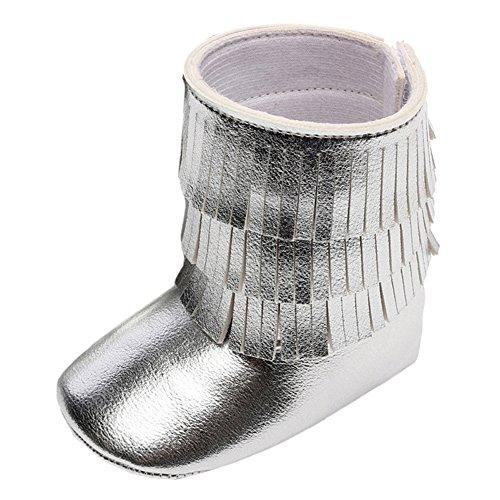 Baby Girl 's Quasten knöchelhoher Stiefel Crib Shoes Silber