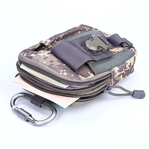 Shopper Joy Tattico Borsa EDC Borsa Molle Hip con Carabiner in alluminio 1000D Materiale per escursioni all'aperto Trekking Camping Travel - Jungle Digital ACU Digital