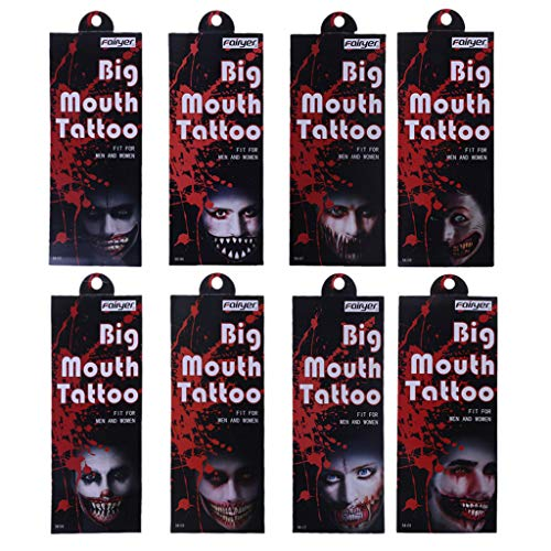JAGENIE COOL Scary Big Mouth Tattoos Horrible Joker Halloween Dekoration Maske Party, 1 STÜCK, Gelegentliche Anlieferung