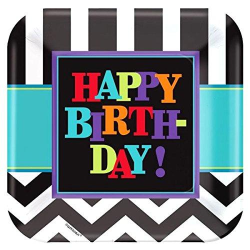 amscan 23cm Happy Birthday Celebration quadratisch Pappteller