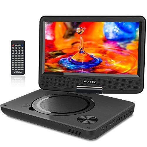 WONNIE 11.5' Lecteur DVD Portable écran Rotatif de 9,5' à 270°,Carte SD Prise USB Charge directe Formats/RMVB / AVI / MP3 / JPEG, Parfait Enfants (Noir)