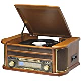 MCR-50 Retro 6-in-1 Turntable Record Player/CD Player/Cassette Tape/Radio/USB/AUX IN - Record to MP3