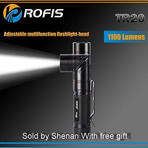 Preisvergleich Produktbild ROFIS TR20 Winkel leichten Dual-Switch1100LM IPX-8 wasserdicht LED Taschenlampe CREE XP-L HI V3 LED Super Bright 200 Stunden max. Laufzeit 90° Verstellkopf Taschenlampe mit 3400mAh 18650 Akku-Holster Ladekabel