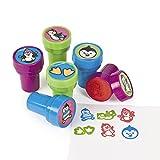 Kinderstempel Pinguin bunt und lustig 6 Stück Stempel Mitgebsel mit Palandi® Sticker