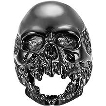 PAURO Hombre Acero Inoxidable Cráneo Fantasma Anillo Biker 3 Colores Oro Plata Negro
