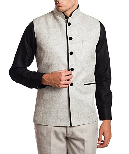 SYLAN Men's Jute cotton Modi/Nehru Coat Grey (M)