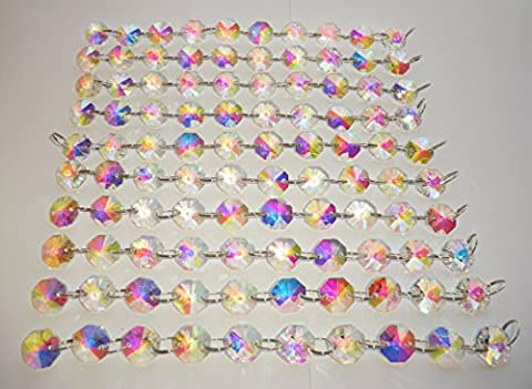 100 14mm Octagon Chandelier Drops Light Parts Cut Glass Crystals Droplets Beads Christmas Tree Ornaments Vintage Chic Wedding Wishing Charm Party Decorations Garlands Prisms Antique Quality Art Deco Beads Choice of Colours Chains Strands by Seear Lights (14mm Aurora Borealis)