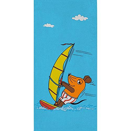 Passende Bettwäsche (Großes Badetuch Die Sendung mit der Maus - Motiv Surfen - 75 x 150 cm 100% Baumwolle Strandlaken Badelaken Handtuch Strandtuch Saunatuch Maus + kleiner blauer Elefant + Ente passend zur Bettwäsche)