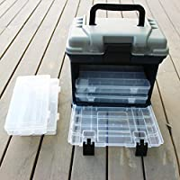 Forfar Caja de pesca 5 Capa grande Pescar Abordar Almacenamiento de Herramientas Caja de la caja con la manija El plastico 27 * 17 * 26cm portátil al aire libre