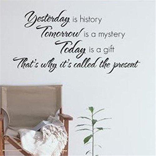 wandaufkleber feder Gestern ist Geschichte morgen ein Rätsel Heute ist es ein Geschenk, deshalb wird es Gegenwart genannt