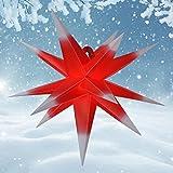 55 cm - Außenstern - Komplettset incl. Kabel & Glühbirne Outdoor Adventsstern Weihnachtsstern 3D Faltstern mit 15 Zacken rot-weiß