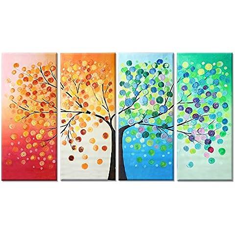 Raybre Art® 100% Pintado a Mano al óleo Cuadros en lienzo Modernos Abstractos - Árboles de Cuatro Estaciones Panorama Colorido 4pcs Sin bastidor - Pintura al óleo Árbol de la vida para Arte Pared Decoracion