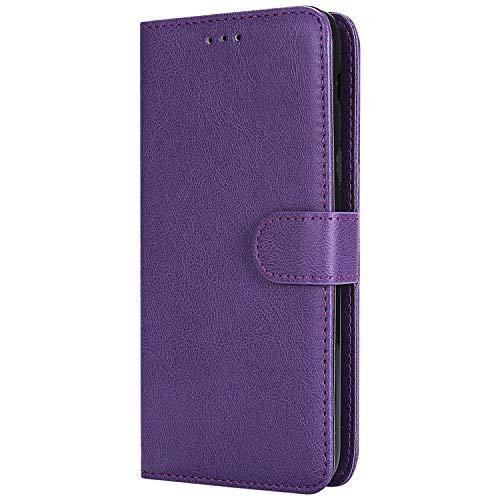 Lomogo Samsung Galaxy J8 Hülle Leder, Schutzhülle Brieftasche mit Kartenfach Klappbar Magnetverschluss Stoßfest Kratzfest Handyhülle Case für Samsung Galaxy J8 2018 - LOKTU30182 Violett