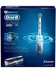 Oral-B Genius 9000N CrossAction Brosse à Dents Électrique Rechargeable, 1 Manche Connecté Blanc, 6 Modes, 4 Brossettes, 1 Étui de Voyage USB