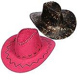com-four 2-teiliges Cowboy-Hut Set für Cowboys und Cowgirls - Westernhut im Kroko-Look und in pink - Kopfbedeckung zu Karneval, Fasching, Halloween, Mottopartys (02 Stück - Cowboy Mix)
