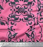 Soimoi Rose Crepe Poly en Tissu Feuilles et filigrané Damasse Tissus imprimes par Metre 52 Pouce Large