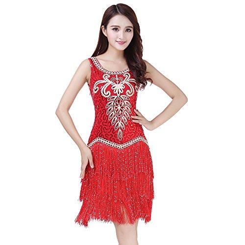 Xueyanwei Damen Pailletten Quaste Cocktail Latin Party Kleid Kostüm Stickerei Tanz Kleid 1920Er Flapper Kleid