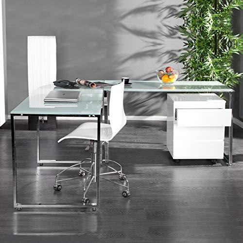 CAGÜ - Design Schreibtisch ECKSCHREIBTISCH [Manhattan] Weiss aus Glas & Chrom 180cm x 160cm