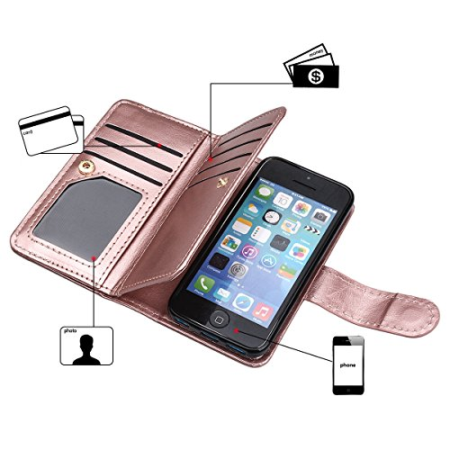 xhorizon TM FM8 Cuir Premium Folio étui [ la fonction de portefeuille] [magnétique détachable] Sac à main bracelet souple Carte Multiple couvrefente pour iPhone 5C Rose d'or