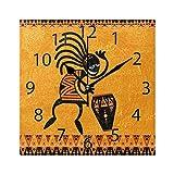 XiangHeFu Reloj de Pared, Cuadrado, 8x8 Pulgadas, silencioso, Africano, étnico, Bailando, Hombre, Decorativo, para el hogar, Oficina, Escuela