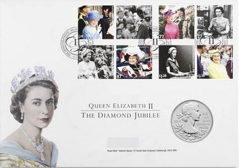 The Royal Mint 5-Pfund-Gedenkmünze und Briefmarken zum sechzigjährigen Thronjubiläum der Queen 2012 -