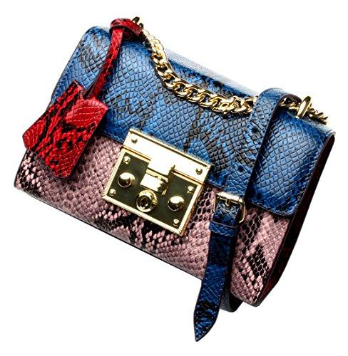 SAIERLONG Nuovo Donna Blu scuro/Grigio Vera Pelle Borse Crossbody Sacchetti di spalla Blu/Rosa