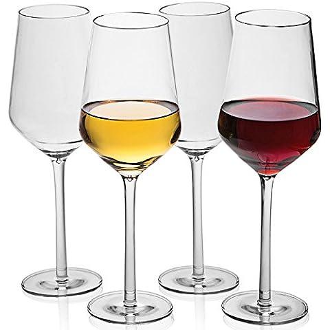 MICHLEY Unbreakable bicchieri di vino,100% Tritan Bicchieri Calici da vino rosso, senza BPA lavabili in lavastoviglie,40 cl Confezione da 4 Pezzi