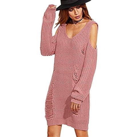Pullover Kleid Kolylong® Frauen-Pullover Frauen reizvolles V-Ausschnitt trägerloses kitted Kleid Frauen lösen lässigen langen Pullover (XL)