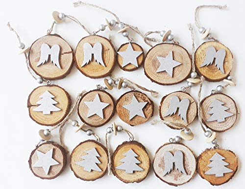 Floral deco concept 15 pezzi decorazioni pendenti dischi legno con inserti in legno colorato argento, misure varie
