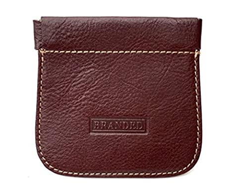 Golunski Mens Leather Stitched Snap Top Coin Purse (Brown)
