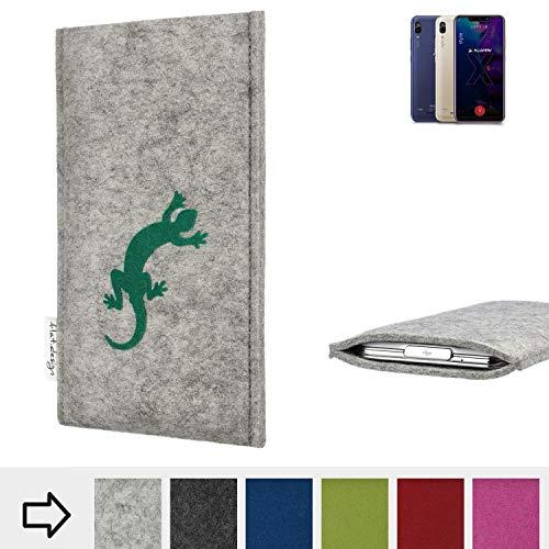 flat.design für Allview Soul X5 Style Handy Schutzhülle FARO mit Gecko - Schutz Case Made in Germany in hellgrau grün handgefertigte Smartphone-Tasche Etui aus Filz für Allview Soul X5 Style