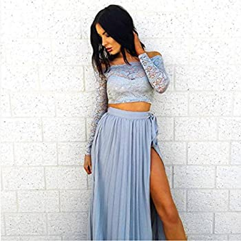 Women Dresses,women Lace Long Sleeve Summer Tops+chiffon Formal Party Cocktail Long Skirt (S, Blue) 3