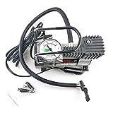 Footprintse 12V Tragbare elektrische Reifen Inflator Pumpe Einzylinder Manometer Luftkompressor Universal für Auto LKW Reifen-Farbe: Silber & Schwarz
