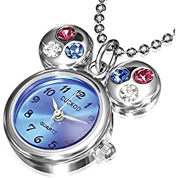 Fashion Alloy Stainless Steel Mouse Pocket Watch Girls Pendant Necklace