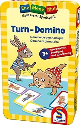 Schmidt Spiele 51425 Ene Mene Muh Tourn-Domino Bring Mich avec Jeu dans la boîte métallique Multicolore