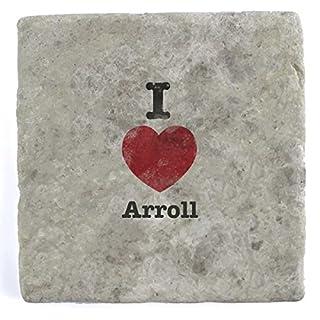 I Love Arroll - Single Marble Tile Drink Coaster