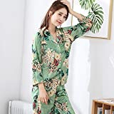 OME&QIUMEI Long Sleeved Pajamas In Spring And Summer Nightwear Suit Green Xl