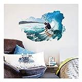 QTZJYLW Startseite Wanddekoration Aufkleber Ozean Mann Surfen Muster Indoor Wall Poster Aufkleber (60 × 90Cm)