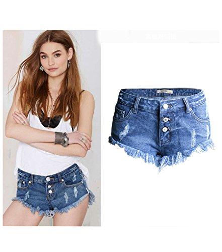 Baymate Damen Unregelmäßige Löcher Kurze Jeans mit Fransen Niedrige Taille Hosen Shorts Hot-pants Blau