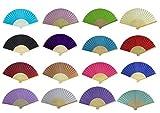 Seta tessuto di seta a mano Confezione da 10 ventagli ventaglio in bambù costole matrimonio